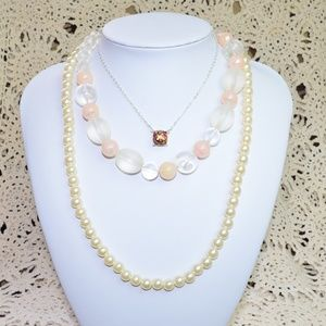 Lot of 3 Statement Necklaces Chain Beaded Pearls